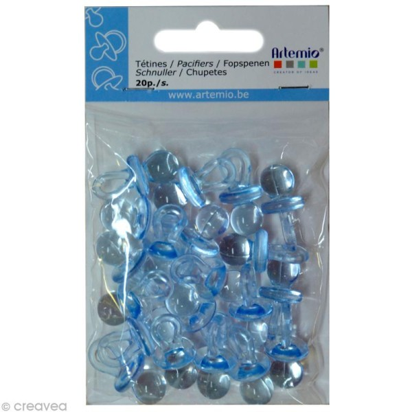 Breloque en plastique - Naissance - Tétine bleue x 20 - Photo n°2