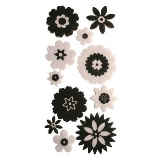Lot fleurs en feutrine adhésive noir et blanc X 10