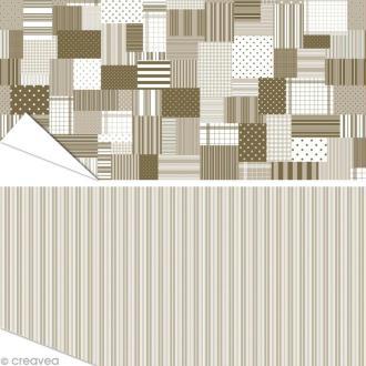 Papier Artepatch - Lignes et patchwork clairs - 2 feuilles de 40 x 50 cm