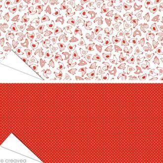 Papier Artepatch - Poules rouges et pois - 2 feuilles de 40 x 50 cm