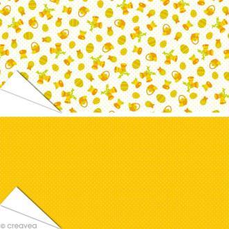 Papier Artepatch - Pâques jaune et pois - 2 feuilles de 40 x 50 cm