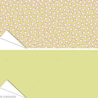 Papier Artepatch - Réveils et pois fond vert - 2 feuilles de 40 x 50 cm