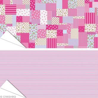 Papier Artepatch - Lignes et patchwork roses - 2 feuilles de 40 x 50 cm
