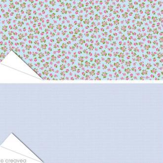Papier Artepatch - Roses et pois fond bleu - 2 feuilles de 40 x 50 cm