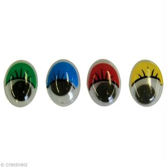 Yeux mobiles ovales de couleur x 40
