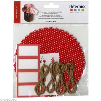 Kit décoration pot de confiture - Rouge et blanc