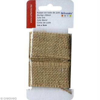 Ruban de tissu en Toile de jute - 3 cm x 1 m