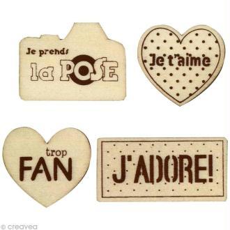 Formes en bois Amour - Assortiment 4 pièces