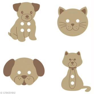 Bouton bois Chiens et chats x 24