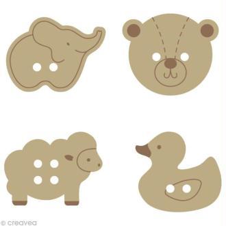 Bouton bois Bébés animaux x 24