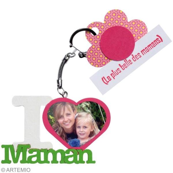 Porte clé texte I Love Maman en bois - Photo n°2