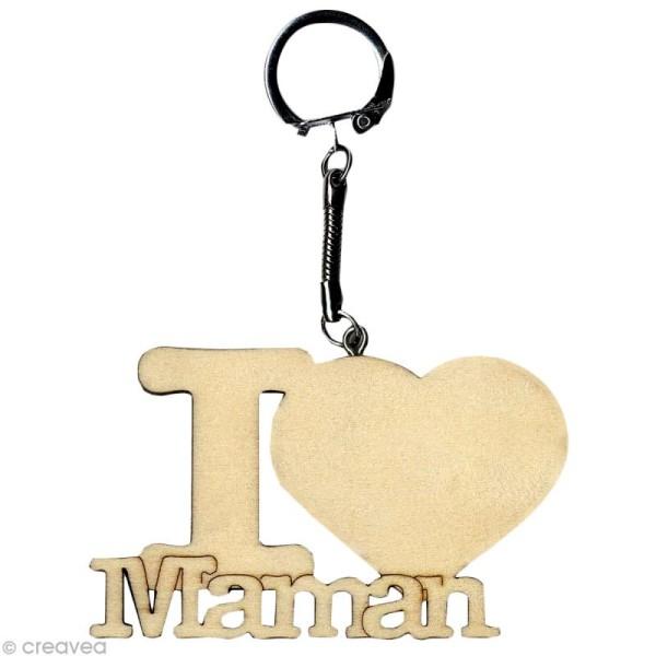 Porte clé texte I Love Maman en bois - Photo n°1