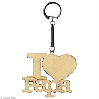Porte clé texte I Love Papa en bois