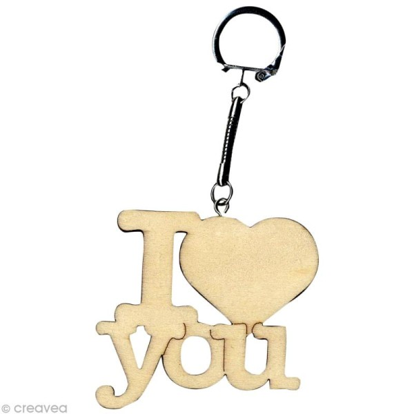 Porte clé texte I Love You en bois - Photo n°1