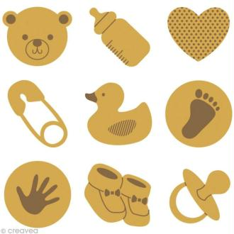 Set de mini silhouettes en bois Baby Shower x 27