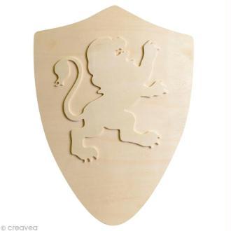 Bouclier lion en bois 40 x 30 cm