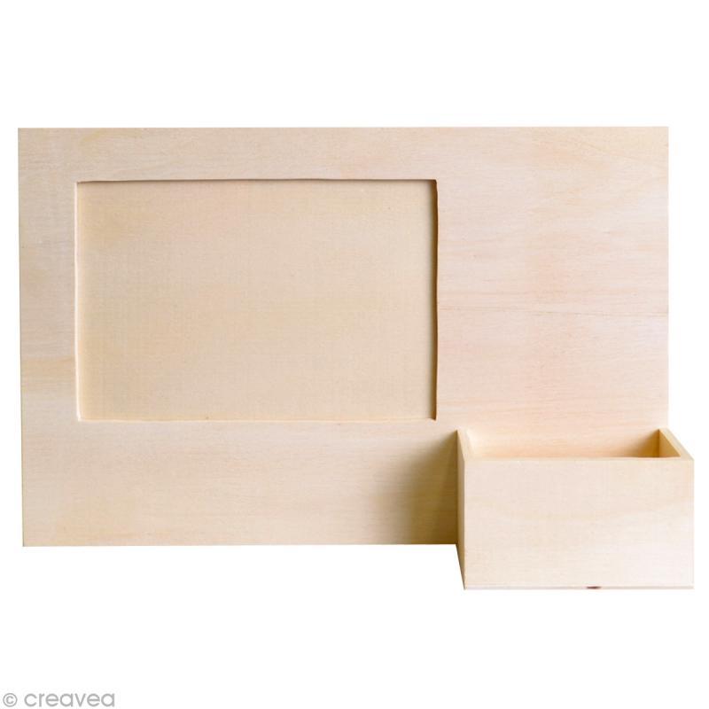 cadre photo en bois avec porte t l phone 23 5 x 16 cm cadre photo d corer creavea. Black Bedroom Furniture Sets. Home Design Ideas