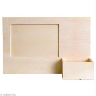 Cadre photo en bois avec porte téléphone 23,5 x 16 cm
