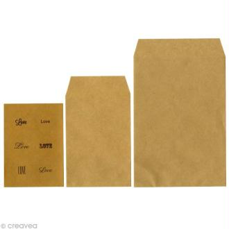 Enveloppe kraft unie x 6 + étiquettes imprimées Love