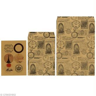 Enveloppe kraft unie x 6 + étiquettes imprimées Vintage