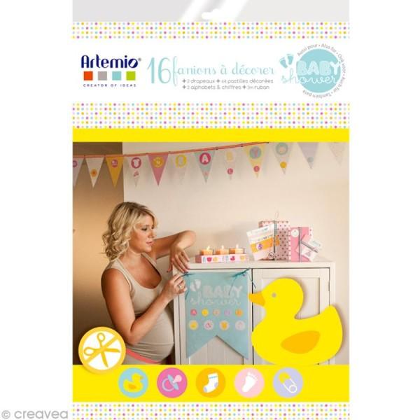 Kit 16 fanions de 19 cm à décorer - Baby Shower - Photo n°1