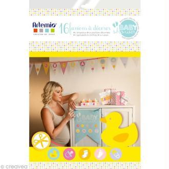 Kit 16 fanions de 19 cm à décorer - Baby Shower