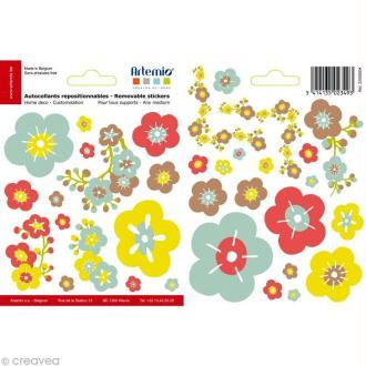 Masking tape stickers Fleurs japon - 34 autocollants repositionnables