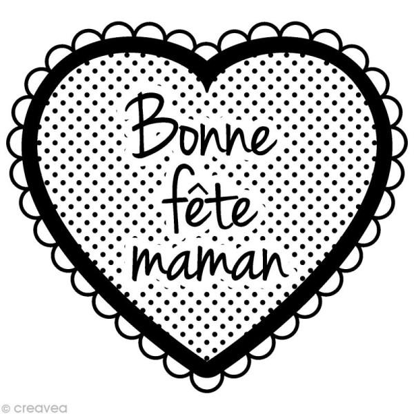 Tampon coeur et texte Bonne fête maman - Photo n°1
