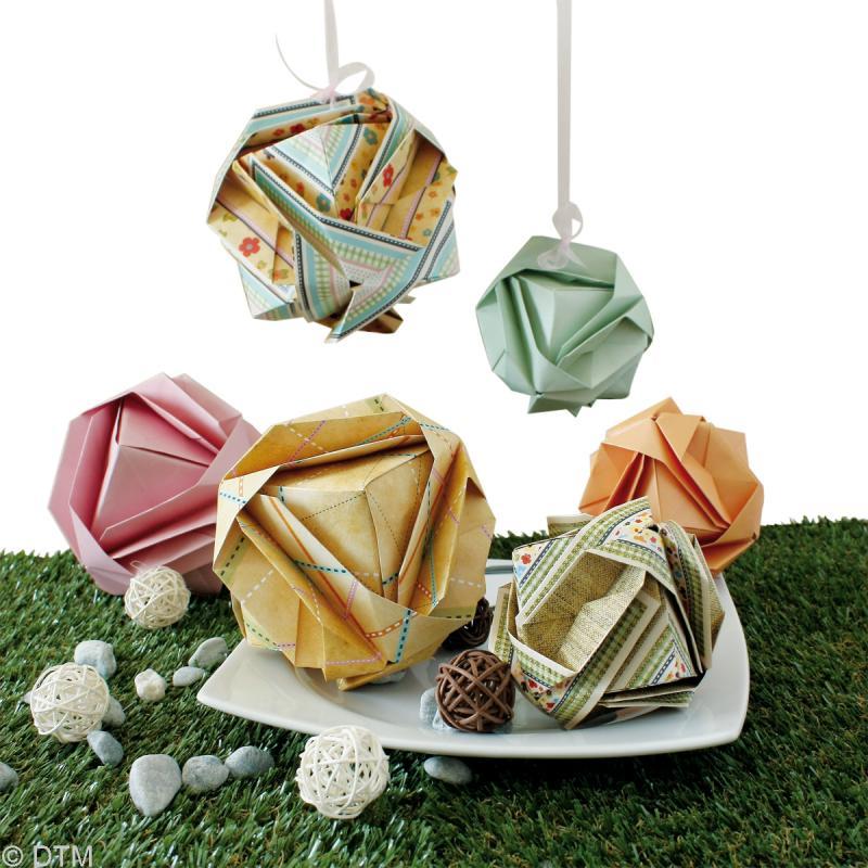 Kit origami boules de no l vintage kit origami creavea - Origami boule de noel ...