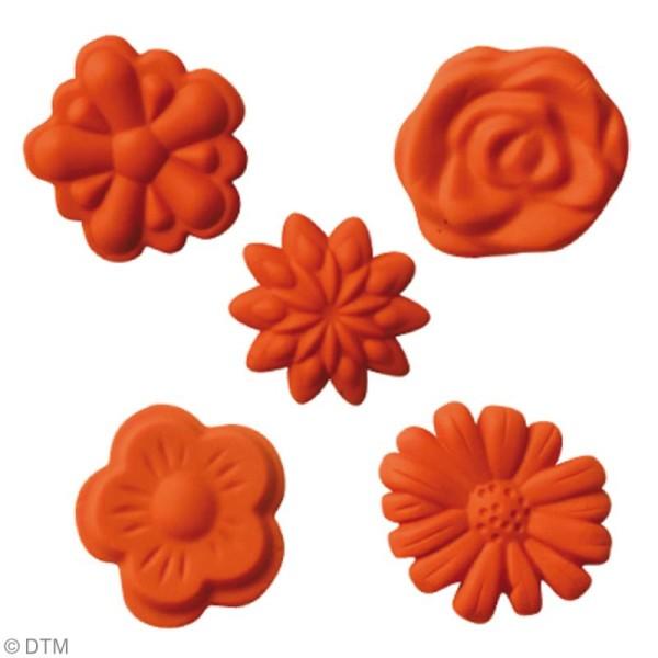 Mini moule silicone souple DTM - Fleurs x 5 formes - Photo n°2