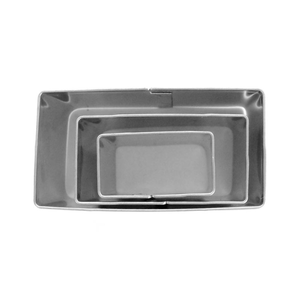 Emporte pièce inox pour modelage Rectangle x 3 - Photo n°1