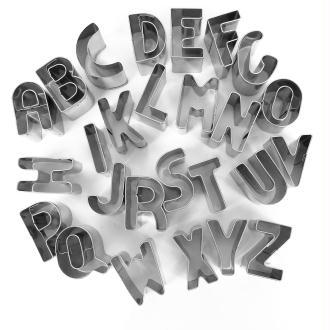 Emporte pièce inox pour modelage Alphabet x 26