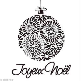 Tampon Noël - Boule joyeux Noël - 6,5 x 5,5 cm
