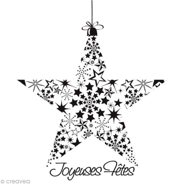 Tampon Noël - Etoile Joyeuses fêtes - 9,7 x 9 cm - Photo n°1