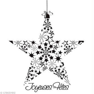 Tampon Noël - Etoile Joyeuses fêtes - 9,7 x 9 cm