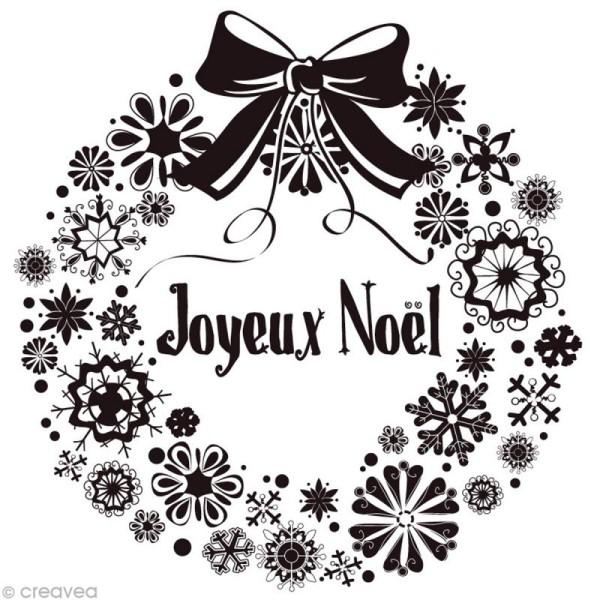 Tampon Noël - Couronne Joyeux Noël - 9,4 x 9 cm - Photo n°1