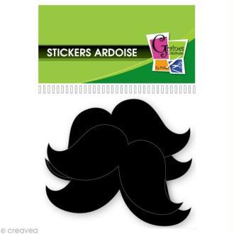 Stickers Moustache ardoise - 5 cm - 12 pcs