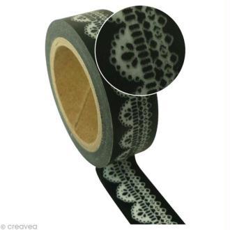 Ruban adhésif décoratif - Noir dentelle -15 mm x 10 m