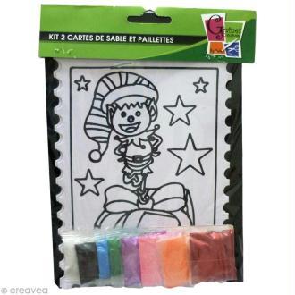 Kit créatif - Cartes de sable Maison et Lutin - 2 cartes 21 x 15 cm