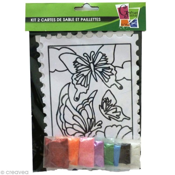 Kit créatif - Cartes de sable Fleurs et Papillon - 2 cartes 21 x 15 cm - Photo n°1