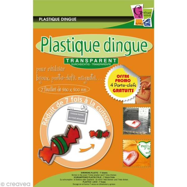 Plastique dingue transparent 26 x 22 cm - 4 porte-clés - Photo n°1