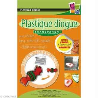 Plastique dingue transparent 26 x 22 cm - 4 porte-clés
