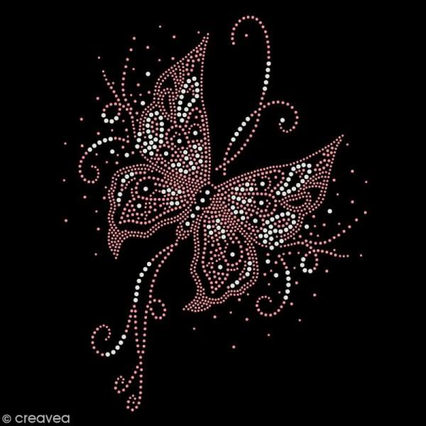 Motif thermocollant strass - Papillon - 20 x 26 cm - Photo n°1