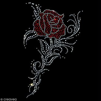 Motif thermocollant strass - Rose tribal - 15 x 25 cm
