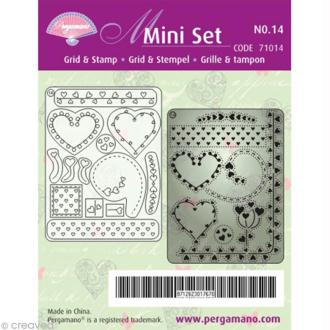 Mini grille Pergamano + tampons clears n°14 - Coeurs (71014)