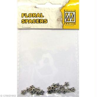 Perle en métal - Floral spacers - Coeur de fleur 1 Argent 5 mm - 20 pcs