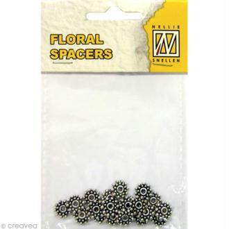 Perle en métal - Floral spacers - Coeur de fleur 2 Argent 8 mm - 20 pcs