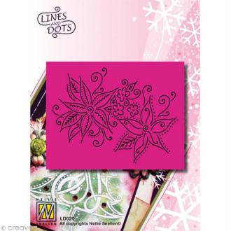 Grille Pergamano Nellie Snellen - 2 fleurs de Noël 11 x 9 cm