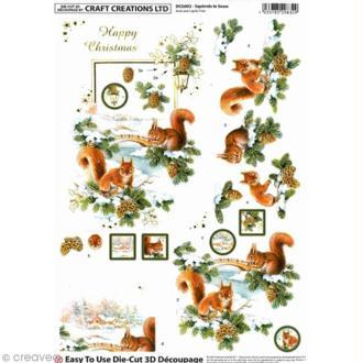 Carte 3D pré-découpée - Ecureuil et sapin avec dorures - 21 x 29,7 cm