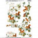 Carte 3D pré-découpée - Ecureuil et sapin avec dorures - 21 x 29,7 cm - Photo n°1